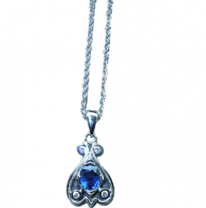 Scroll Pendant in 14k White Gold Necklace