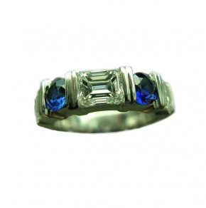 Emerald Cut Diamond & Blue Sapphire Platinum Guard Ring