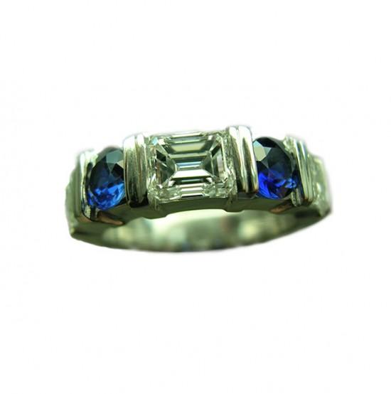 Emerald Cut Diamond & Blue Sapphire Platinum Guard Ring