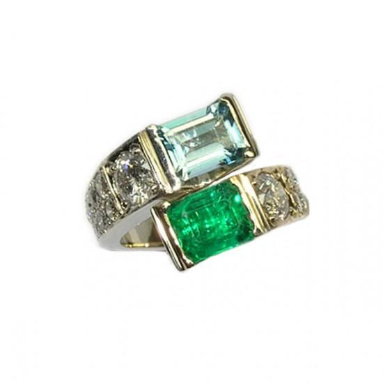 Emerald & Aquamarine Crossover Ring