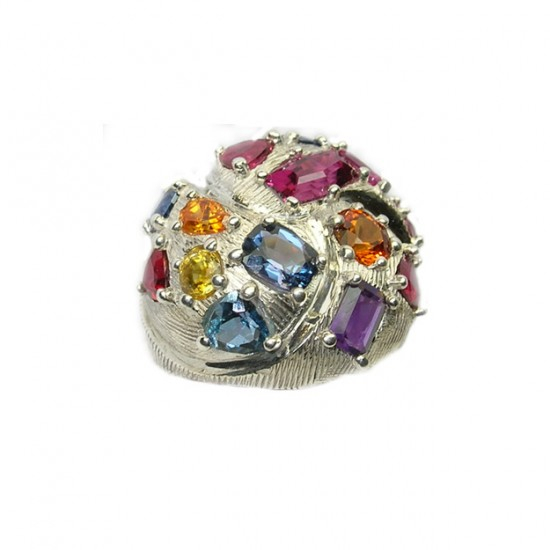 Multi Color Gem Stone Swirl Dome Ring