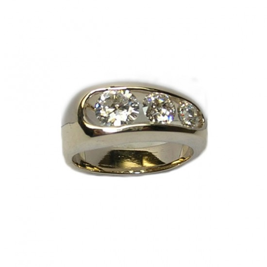 Open Channel Ring with Graduated European Cut Diamonds
