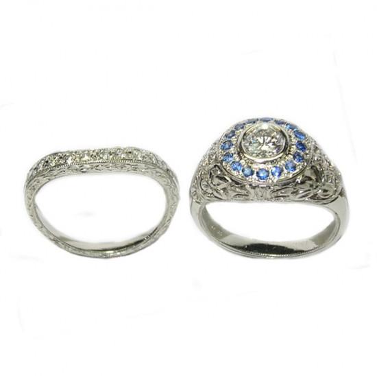 Platinum, Diamond, Montana Sapphire Ring