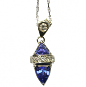 Tanzanite & Diamond Pendant in 18k White Gold Necklace