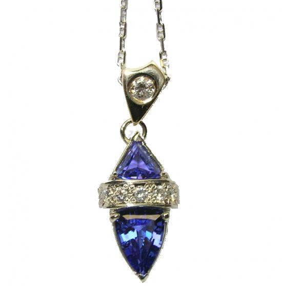 Tanzanite & Diamond Pendant in 18k White Gold Necklace
