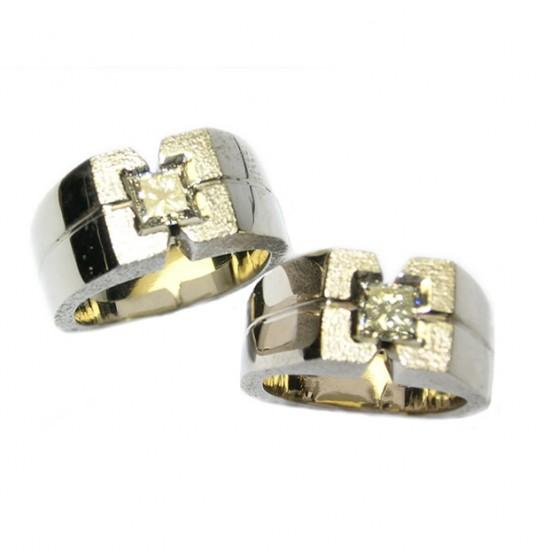 White Gold & Square Brilliant Cut Diamond Ring Set